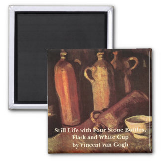 Van Gogh Still Life Stone Bottles, Flask White Cup 2 Inch Square Magnet