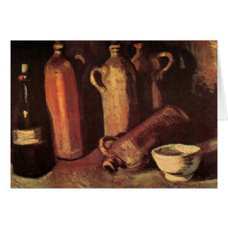 Van Gogh Still Life Stone Bottles, Flask White Cup Card