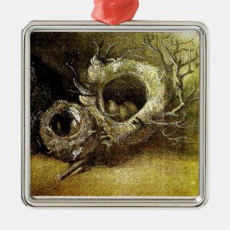Van Gogh Still Life Three Birds' Nests Square Metal Christmas Ornament