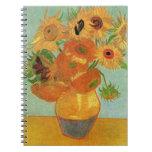 Van Gogh; Still Life: Vase with 12 Sunflowers Spiral Notebook