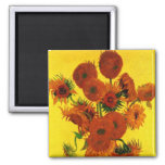 Van Gogh Still Life: Vase with 15 Sunflowers 2 Inch Square Magnet