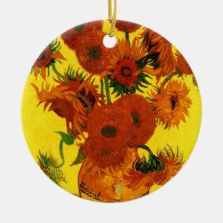 Van Gogh Still Life Vase with 15 Sunflowers Christmas Tree Ornament
