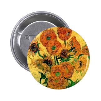 Van Gogh - Still Life Vase With Fifteen Sunflowers 2 Inch Round Button