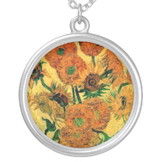 Van Gogh - Still Life Vase With Fifteen Sunflowers Silver Plated Necklace