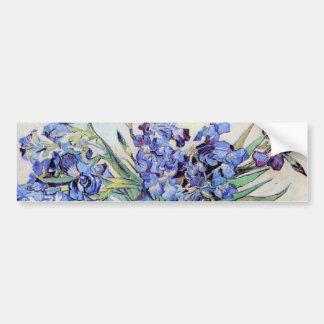 Van Gogh Still Life Vase with Irises, Vintage Art Car Bumper Sticker