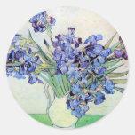 Van Gogh Still Life Vase with Irises, Vintage Art Classic Round Sticker
