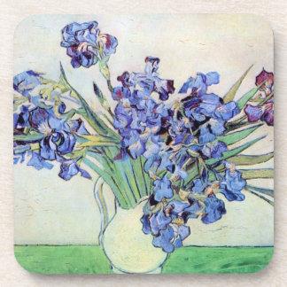 Van Gogh Still Life Vase with Irises, Vintage Art Drink Coaster