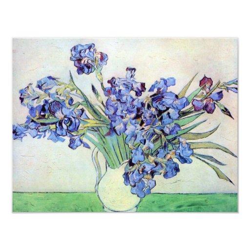Van Gogh Still Life Vase with Irises, Vintage Art 4.25x5.5 Paper Invitation Card