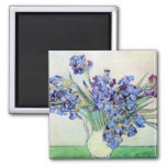 Van Gogh Still Life Vase with Irises, Vintage Art 2 Inch Square Magnet