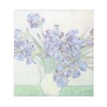 Van Gogh Still Life Vase with Irises, Vintage Art Note Pad
