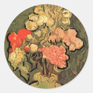 Van Gogh Still Life Vase with Rose Mallow Flowers Classic Round Sticker