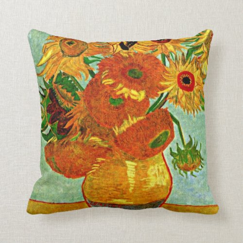 Van Gogh: Still Life Vase with Twelve Sunflowers Throw Pillow