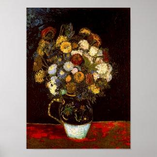 Van Gogh Still Life: Vase with Zinnias Print