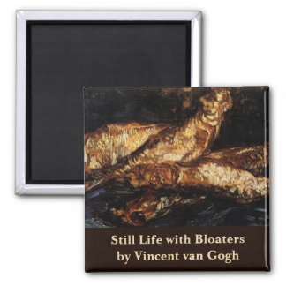 Van Gogh Still Life w Bloaters, Vintage Fine Art 2 Inch Square Magnet