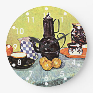Van Gogh: Still Life with Blue Enamel Coffeepot Large Clock