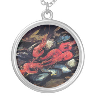 Van Gogh - Still Life With Mussels And Shrimp Round Pendant Necklace