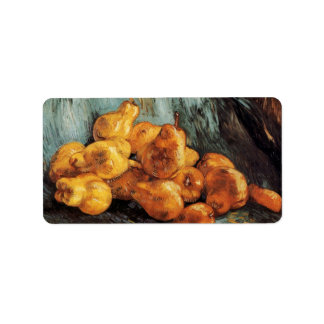 Van Gogh Still Life with Quince Pears, Vintage Art Address Label