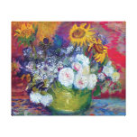 Van Gogh - Still Life With Roses And Sunflowers Gallery Wrapped Canvas
