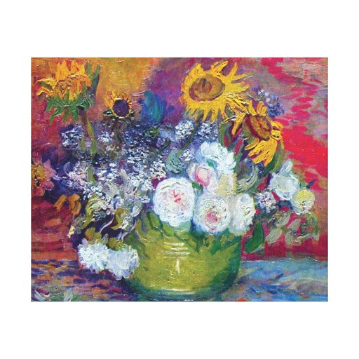 Van Gogh - Still Life With Roses And Sunflowers Canvas Print