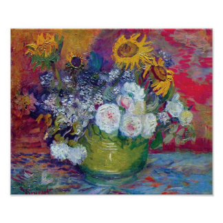 Van Gogh - Still Life With Roses And Sunflowers Poster