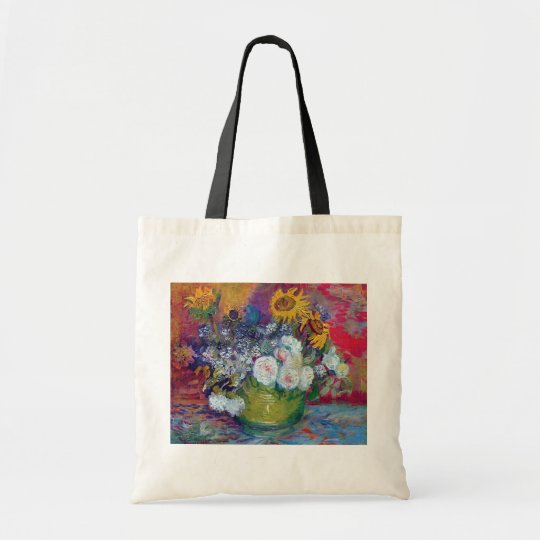 Van Gogh - Still Life With Roses And Sunflowers Tote Bag