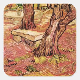 Van Gogh Stone Bench in Garden, St Paul Hospital Square Sticker