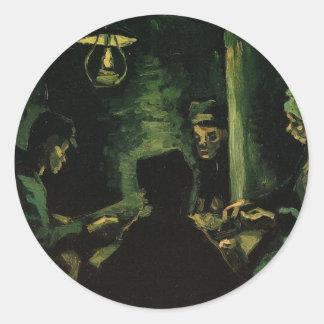 Van Gogh; Study for The Potato Eaters, Vintage Art Classic Round Sticker