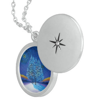 Van Gogh Style Blue Christmas Sterling Silver Necklace