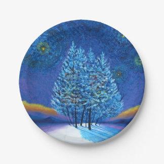 Van Gogh Style Christmas Paper Plate