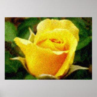Van Gogh style yellow rose poster