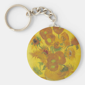 Van Gogh Sunflowers 2 Basic Round Button Keychain