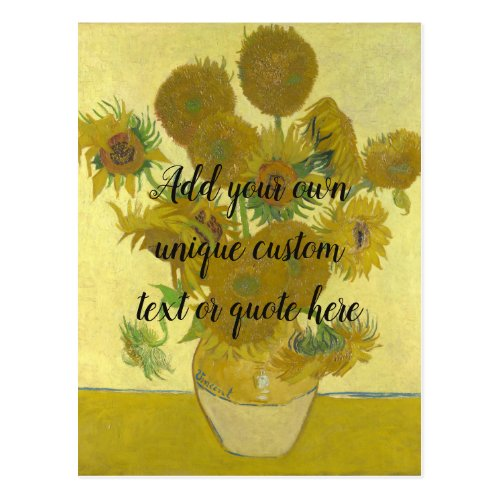Van Gogh Sunflowers Add Your Custom Text  Quote Postcard