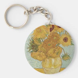 Van Gogh - Sunflowers Basic Round Button Keychain
