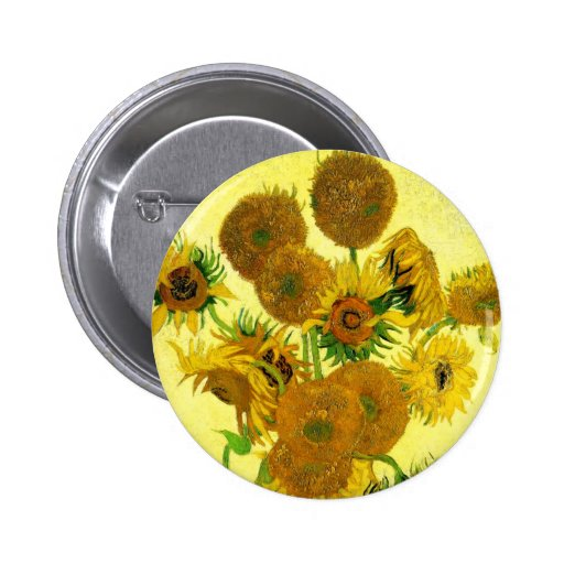 Van Gogh Sunflowers Button