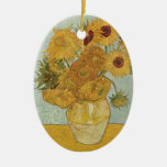 Van Gogh Sunflowers Double-Sided Oval Ceramic Christmas Ornament