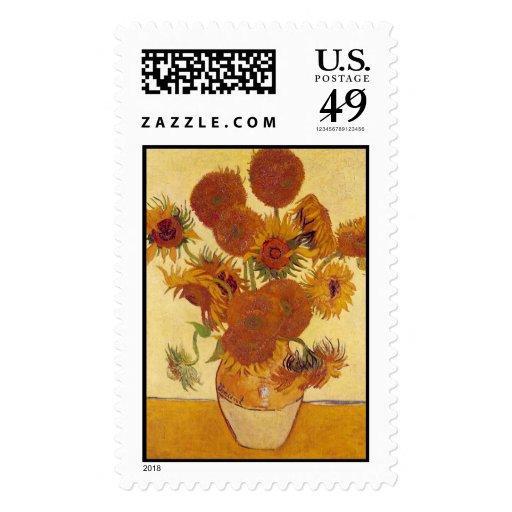 Van Gogh Sunflowers (F454) Vintage Fine Art Stamp