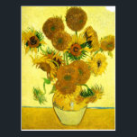 """Van Gogh Sunflowers Postcard<br><div class=""""desc"""">Van Gogh Sunflowers. Oil painting on canvas from 1888. Vase with Fifteen Sunflowers is one of Vincent Van Gogh's most beloved still life works. The brilliant use of yellows quietly evokes the end of summer. A great gift for fans of sunflowers,  Van Gogh,  impressionism,  and still life art.</div>"""