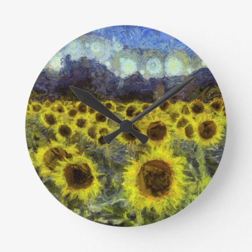Van Gogh Sunflowers Round Clock