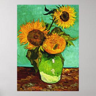 Van Gogh - Sunflowers, Three Poster
