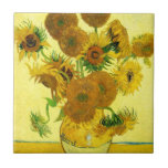 """Van Gogh Sunflowers Tile<br><div class=""""desc"""">Van Gogh Sunflowers tile. Oil painting on canvas from 1888. Vase with Fifteen Sunflowers is one of Vincent Van Gogh's most beloved still life works. The brilliant use of yellows quietly evokes the end of summer. A great gift for fans of sunflowers,  Van Gogh,  impressionism,  and still life art.</div>"""