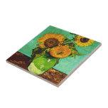 "Van Gogh - Sunflowers Tile<br><div class=""desc"">Vincent Van Gogh painting,  Sunflowers,  ceramic tile.  Post-impressionism painting by Vincent Van Gogh,  1888.</div>"