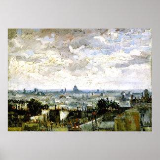 Van Gogh - tejados de París Póster