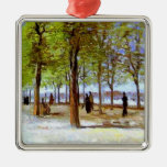 Van Gogh: Terrace in the Luxembourg Garden Square Metal Christmas Ornament