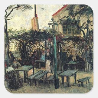 Van Gogh Terrace of a Cafe on Montmartre, Fine Art Square Sticker
