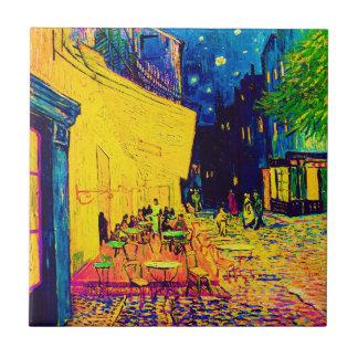 Van Gogh - terraza del café en el arte pop de la Azulejo Cuadrado Pequeño