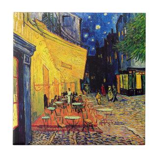 Van Gogh - terraza del café en la noche Azulejo Cuadrado Pequeño