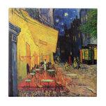 Van Gogh, terraza del café en la noche, bella arte Azulejo