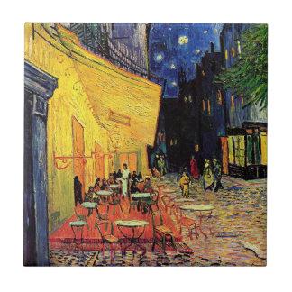 Van Gogh Terraza del café en la noche bella arte Azulejo