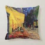 Van Gogh, terraza del café en la noche, bella arte Cojin