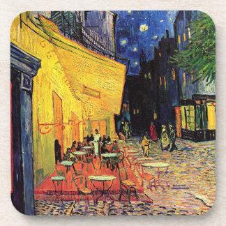 Van Gogh Terraza del café en la noche bella arte Posavasos De Bebidas